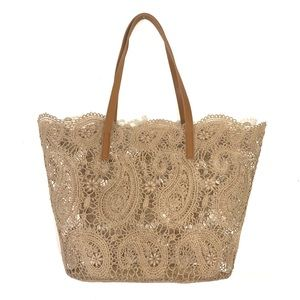 Tan Lace See Through Tote Beach Bag